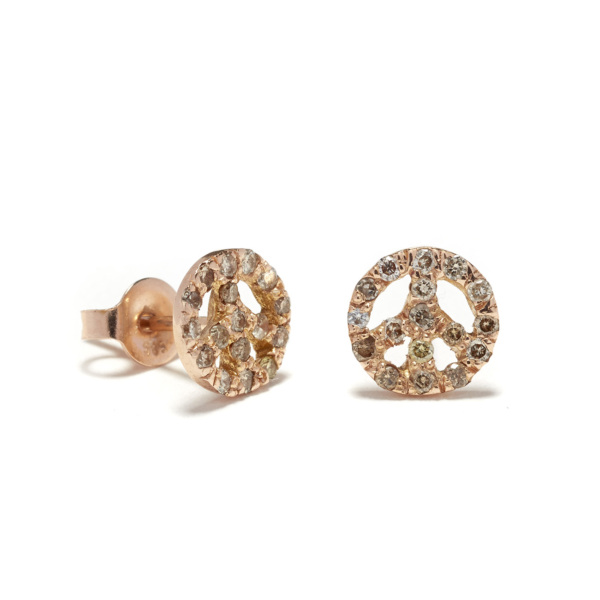 pink gold peace sign studs