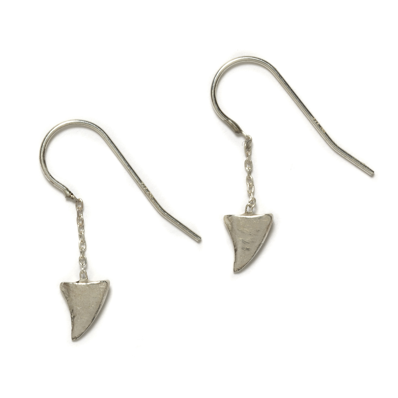 sterling silver baby shark tooth dangling earrings