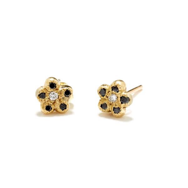 yellow gold black diamond newflower studs