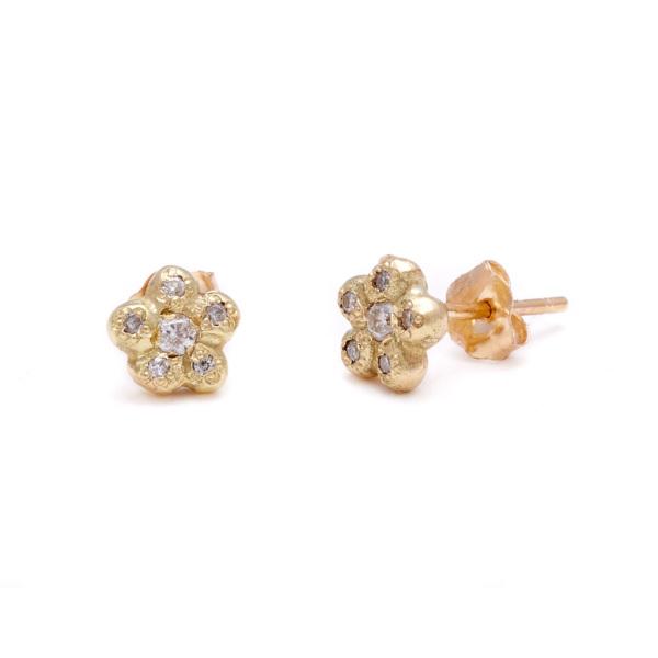 yellow gold diamond newflower studs