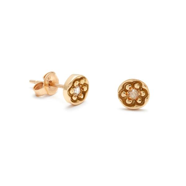 Flower Disk Stud Earrings in Yellow Gold