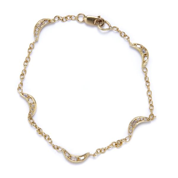 mini moon bracelet with diamonds