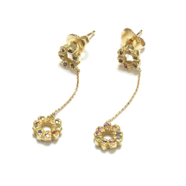 yellow gold multicolor flower child dangling earrings on posts