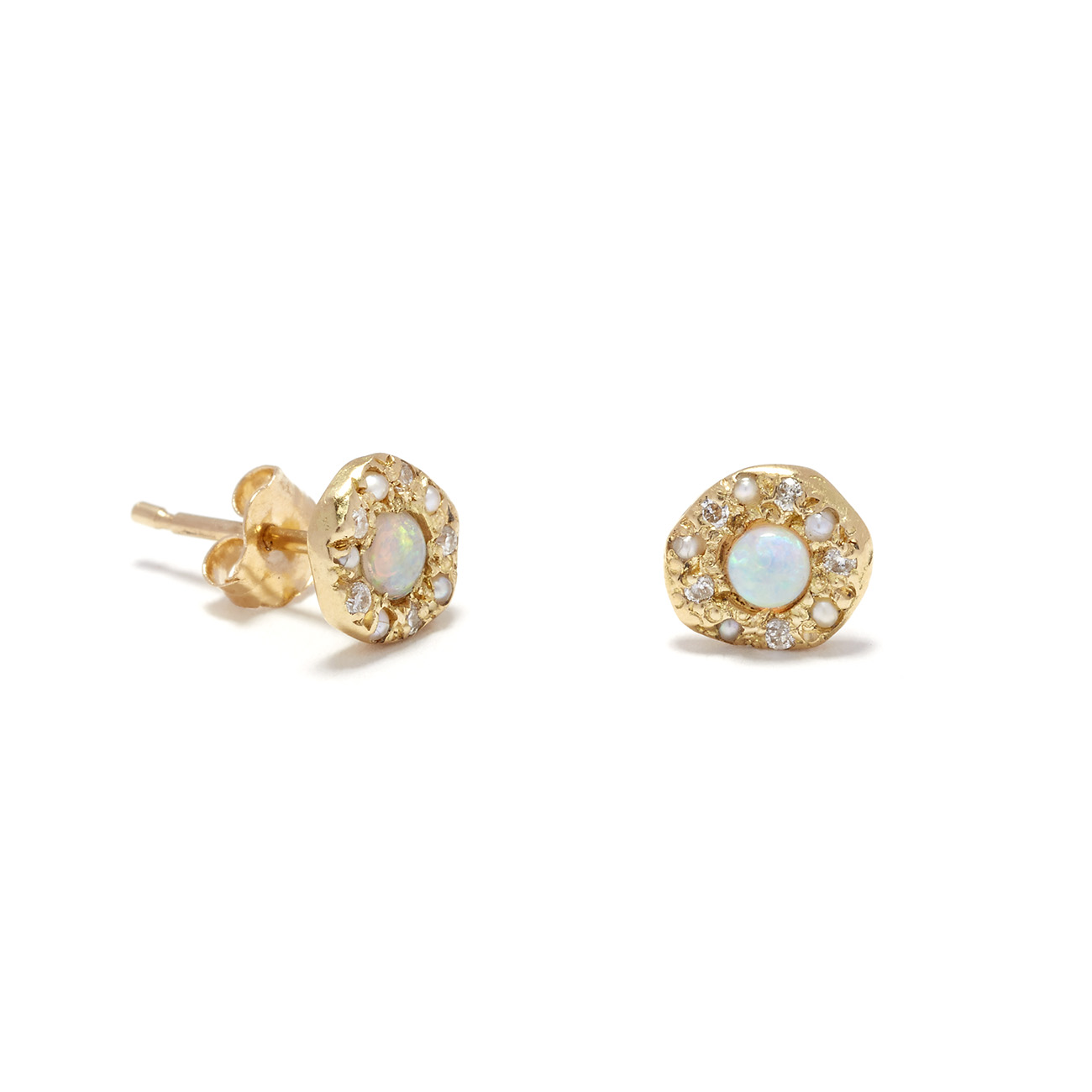 yellow gold opal disk studs