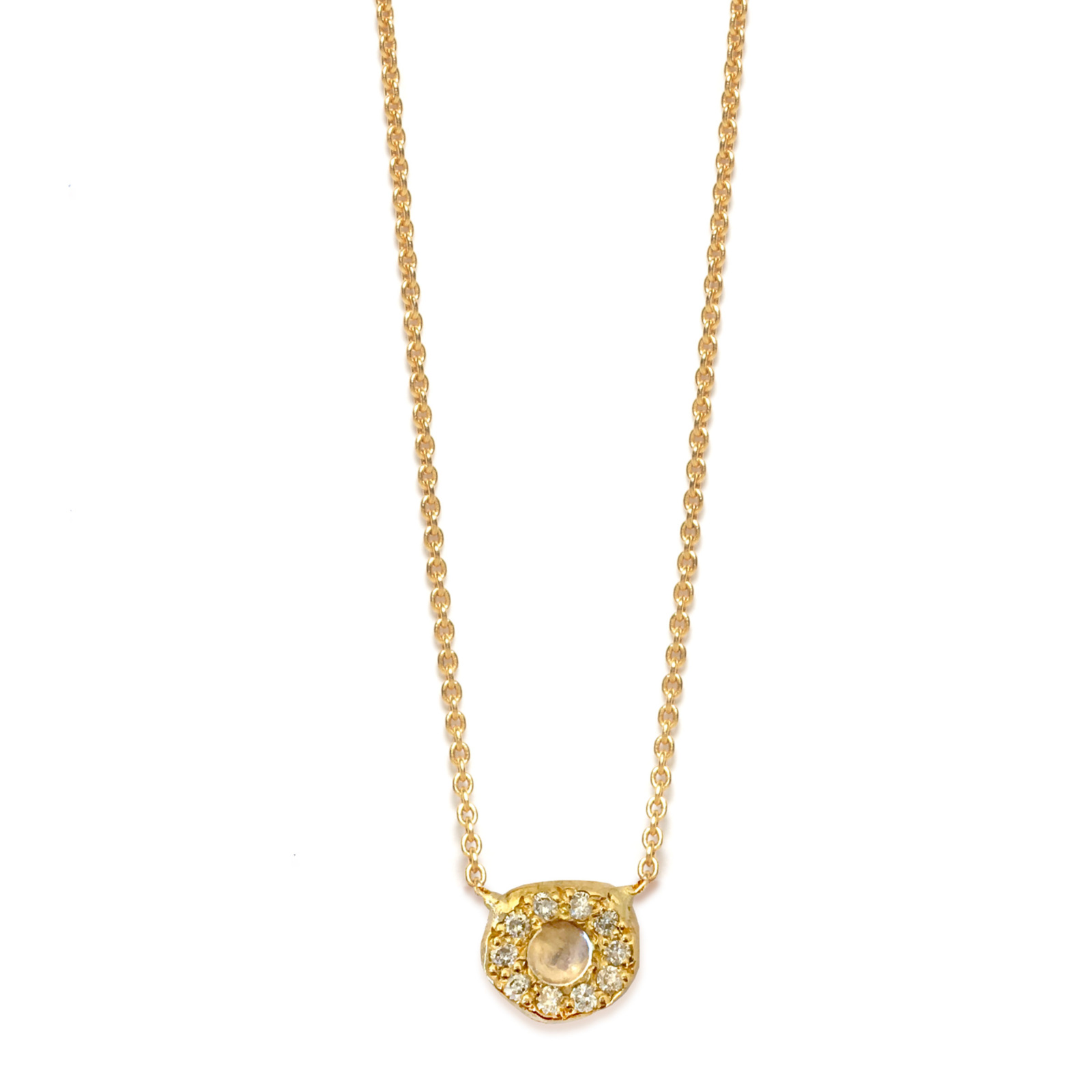Moonstone Diamond Disk Necklace in Yellow Gold
