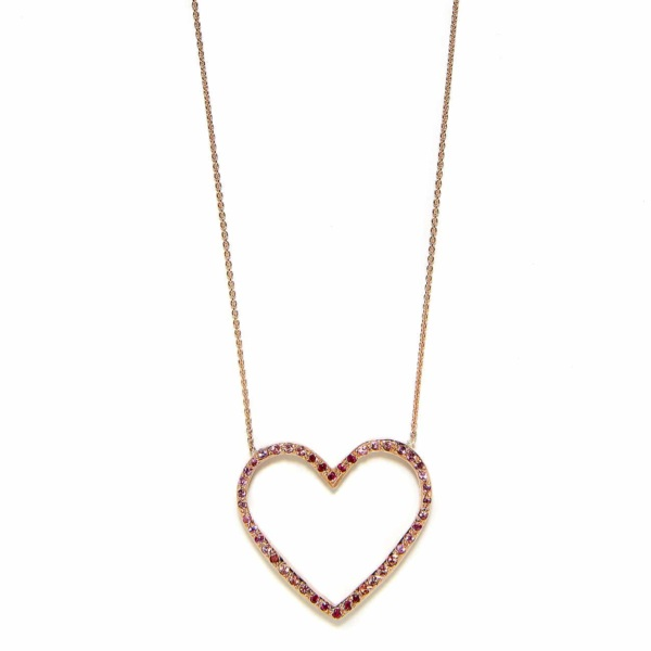 Pink Gold Ombre Large Open Heart Necklace - Elisa Solomon