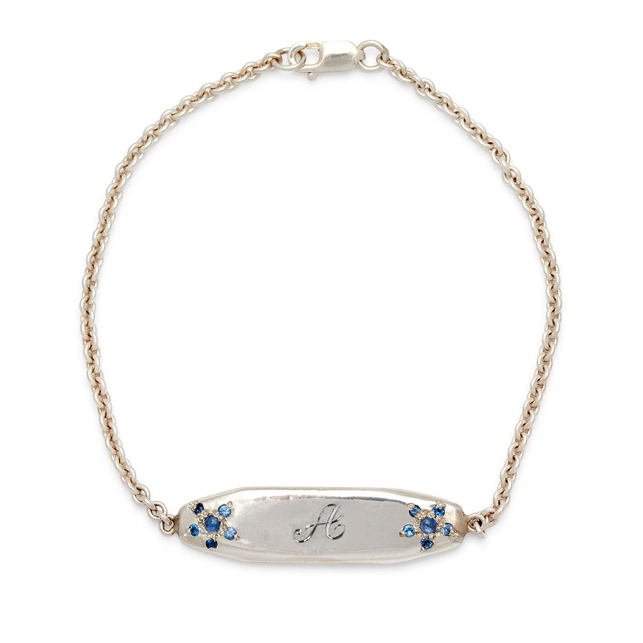 sterling silver ID bracelet 1 script letter engraved