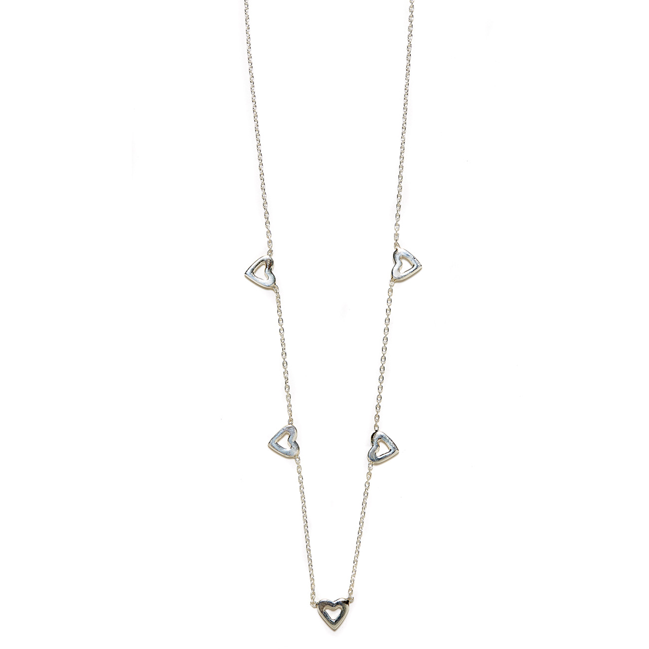 Elisa Solomon - Sterling Silver Tiny Open Hearts Necklace