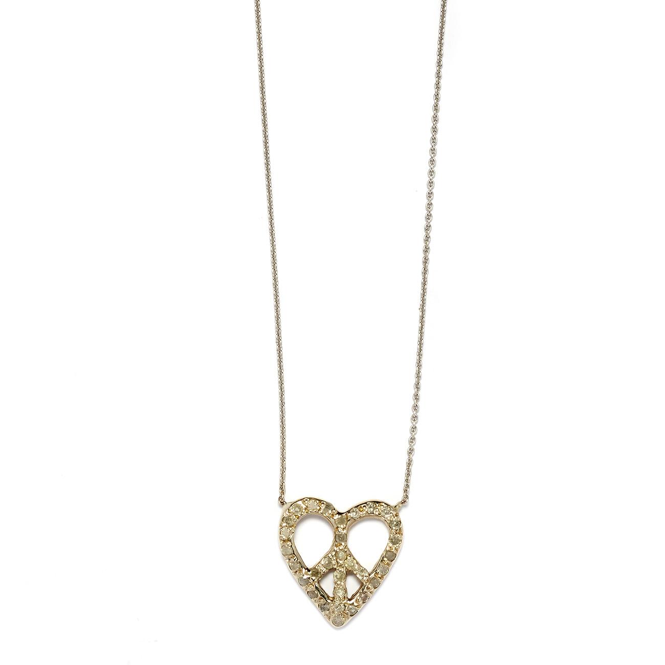 Elisa Solomon - White Gold Peace Heart Necklace