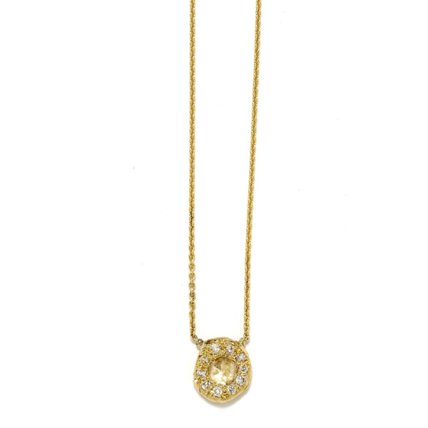 Elisa Solomon - Yellow Gold Diamond Disk Necklace