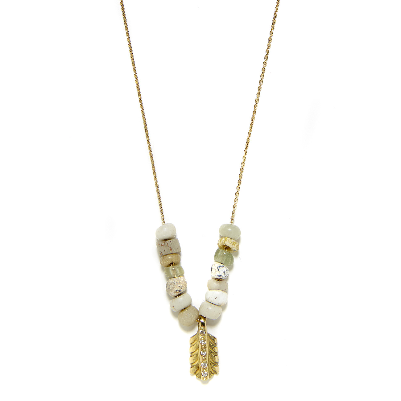 Elisa Solomon - Yellow Gold Diamond Small Feather Necklace With Beads