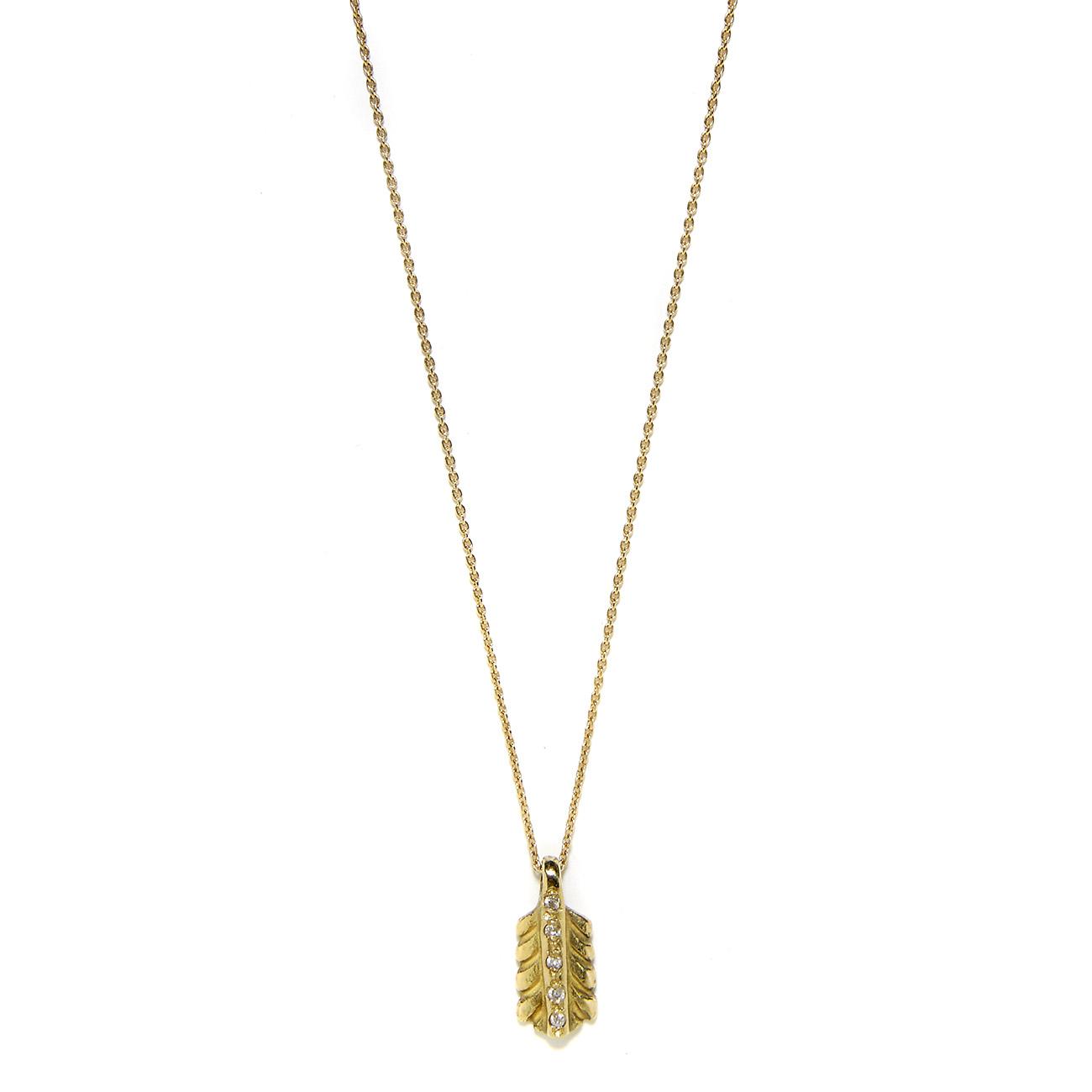 Elisa Solomon - Yellow Gold Diamond Small Feather Necklace