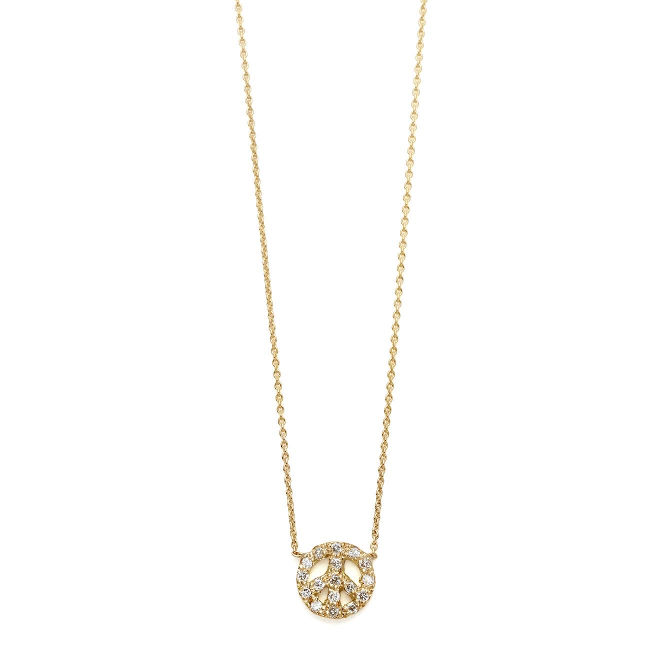 Elisa Solomon - Yellow Gold Diamond Tiny Peace Sign Necklace