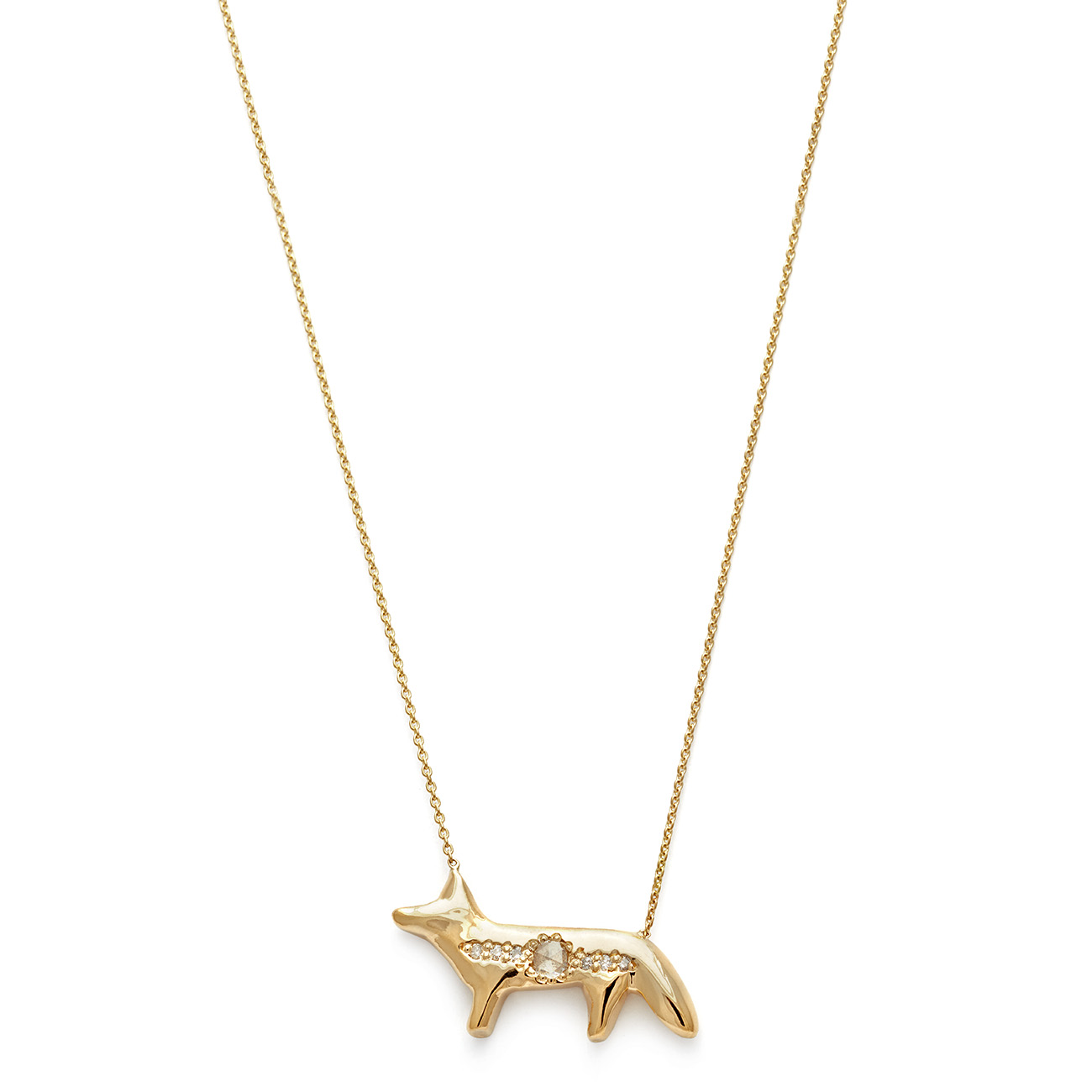 Elisa Solomon - Yellow Gold Fox Necklace