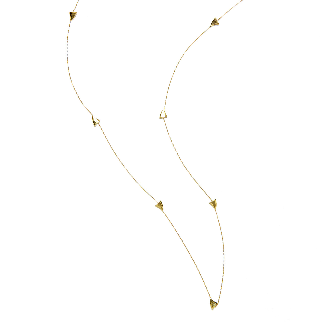 Elisa Solomon - Yellow Gold Long Shark Tooth Necklace