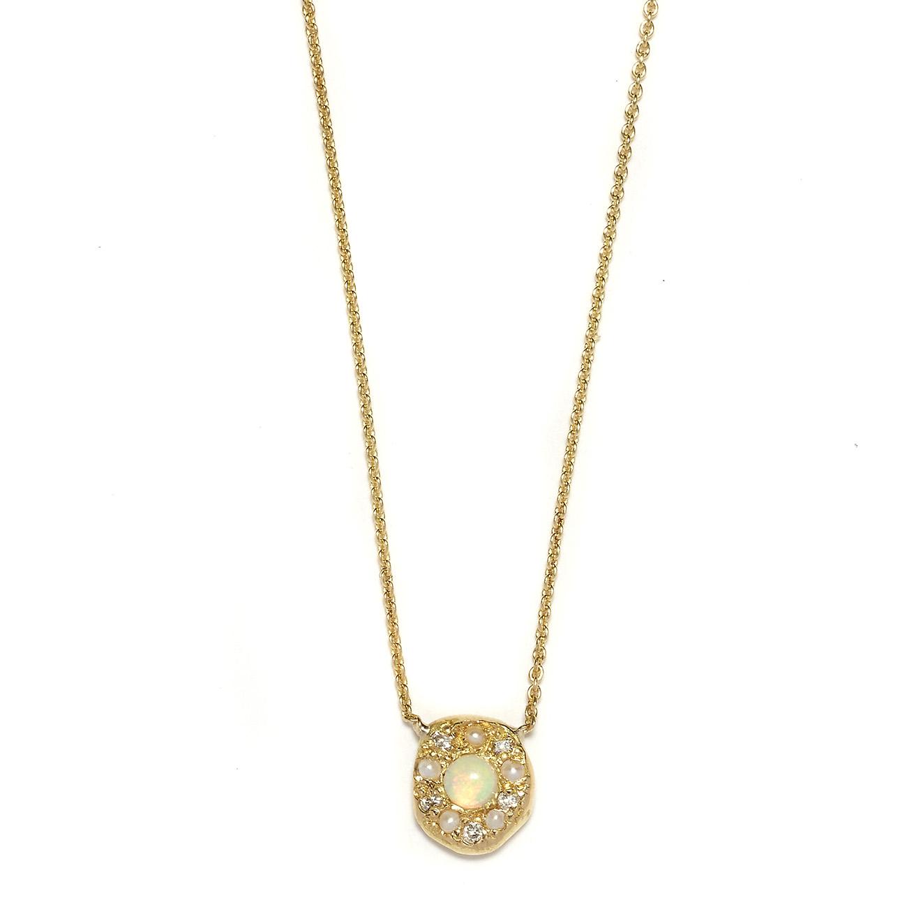 Elisa Solomon - Yellow Gold Opal Disk Necklace