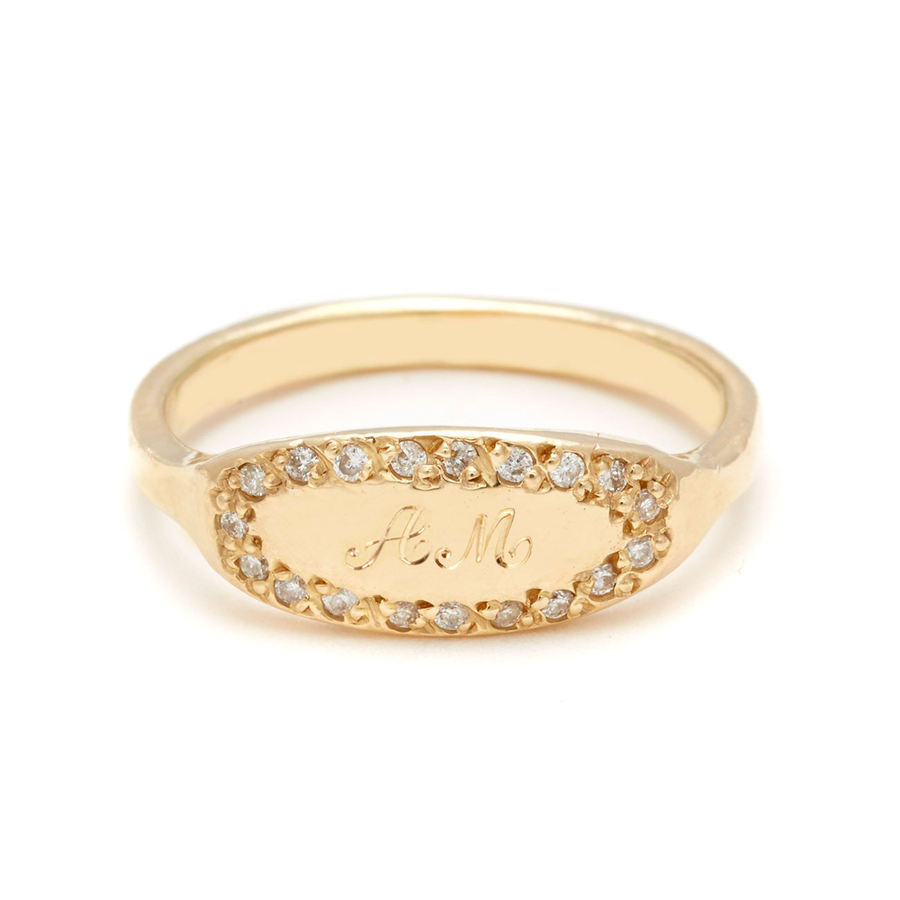 yellow gold oval signet ring 2 script letters
