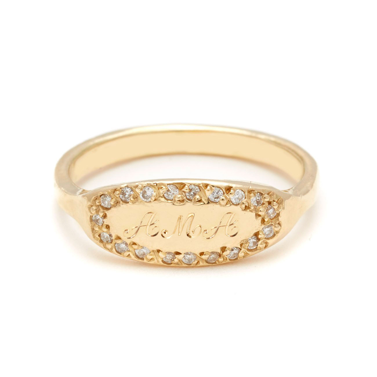 yellow gold oval signet ring 3 script letters
