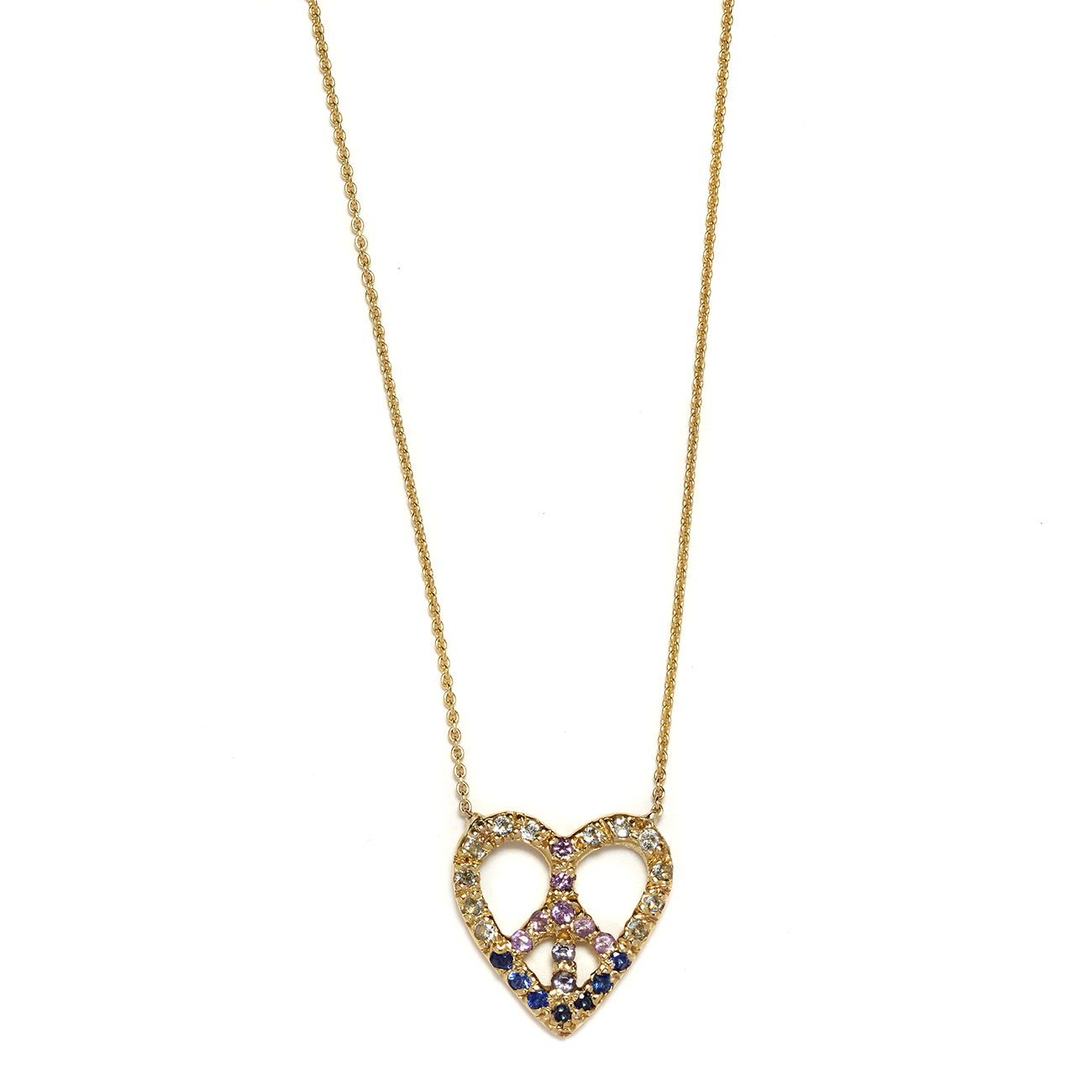 Elisa Solomon - Yellow Gold Peace Heart Necklace Blues