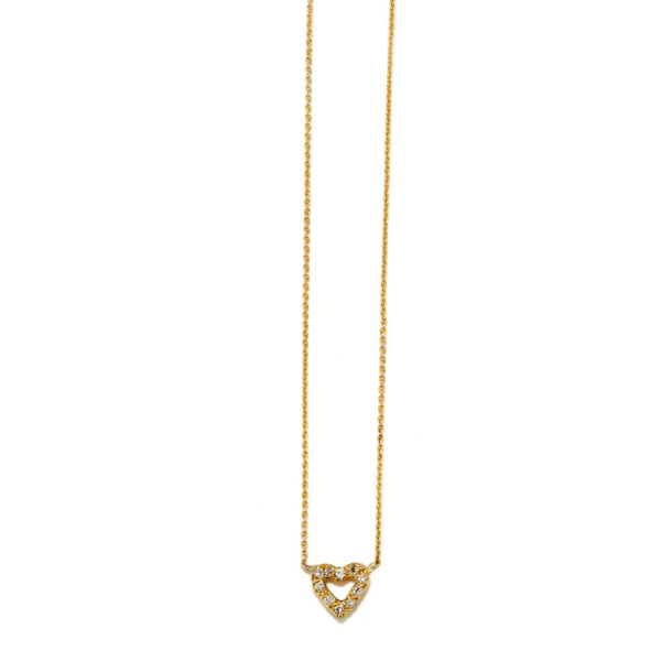 Elisa Solomon - Yellow Gold Tiny Open Heart Necklace