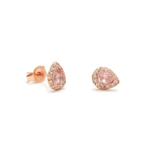 Pink Gold Pear Stud Earrings with Diamonds