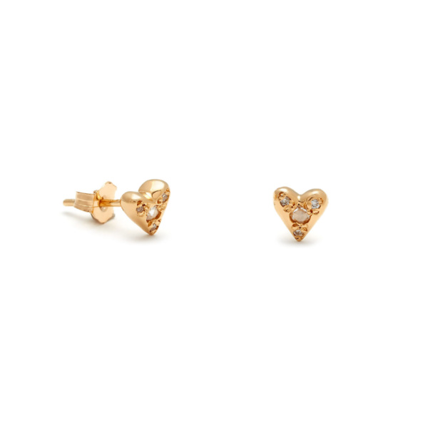 Yellow Gold Puff Heart Studs Elisa Solomon Jewelry