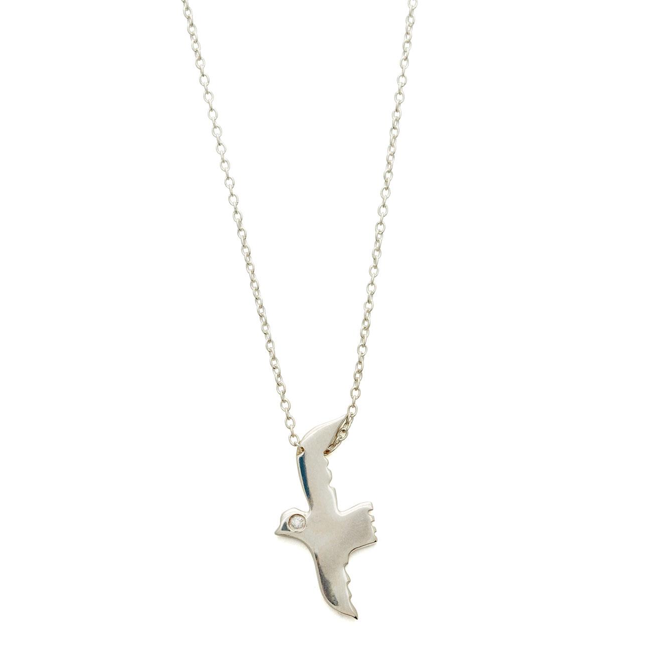 Sterling Silver Flying Bird Necklace With White Diamond Eye - Elisa Solomon