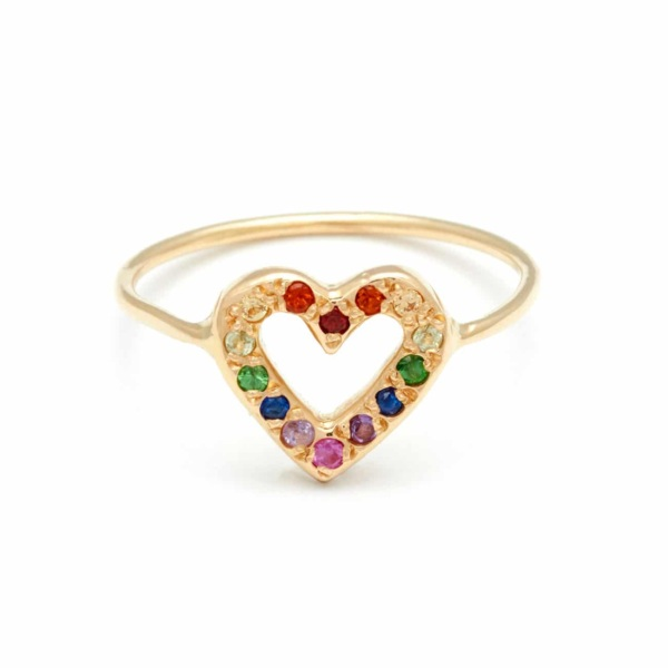 Yellow Gold Open Heart Ring with Rainbow Gems - Elisa Solomon Jewelry