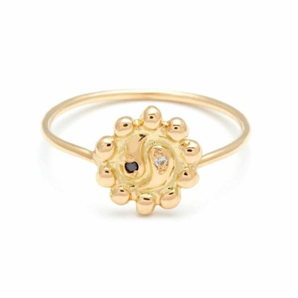 Yellow Gold Ying Yang Flower Ring