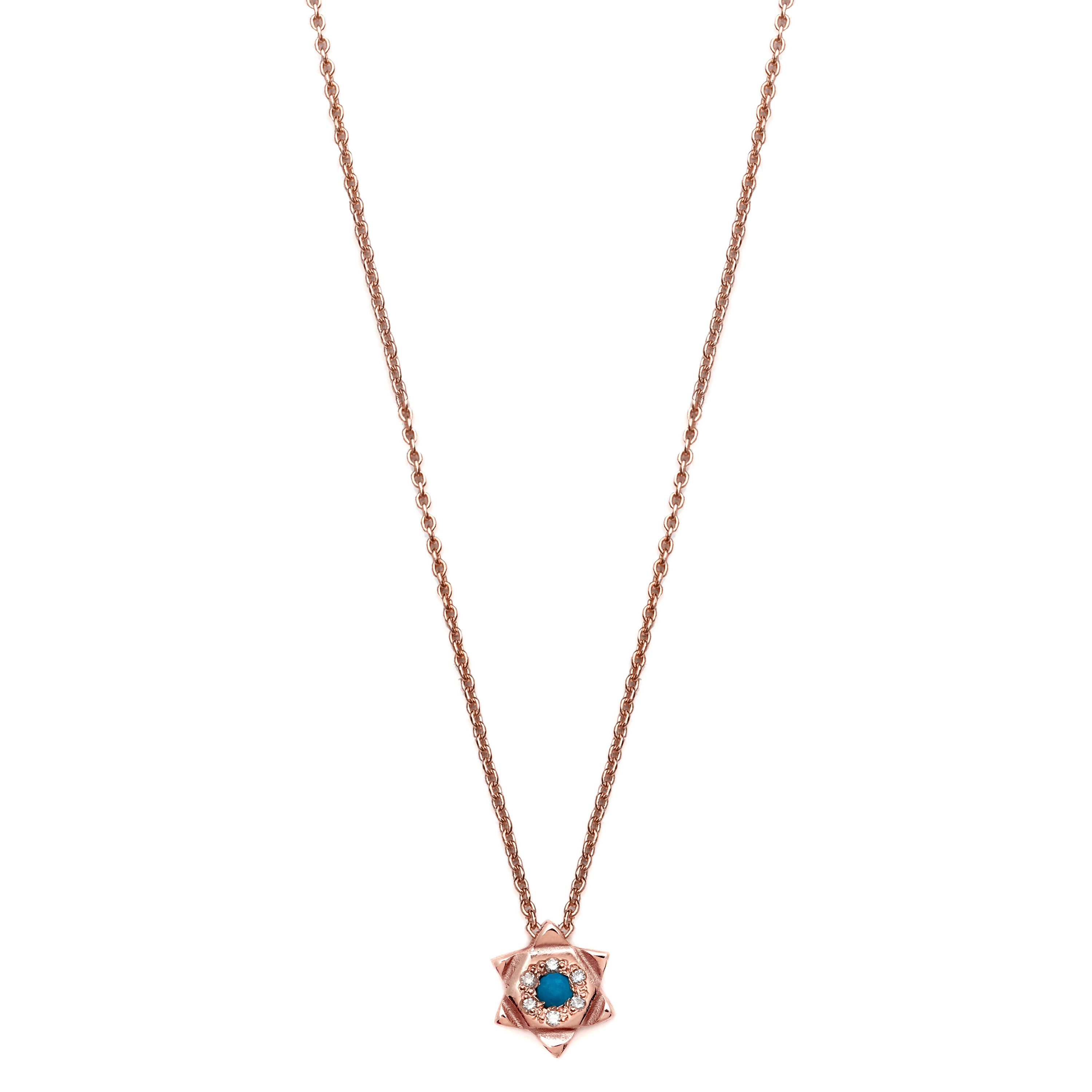 Pink Gold 6 Point Star Necklace