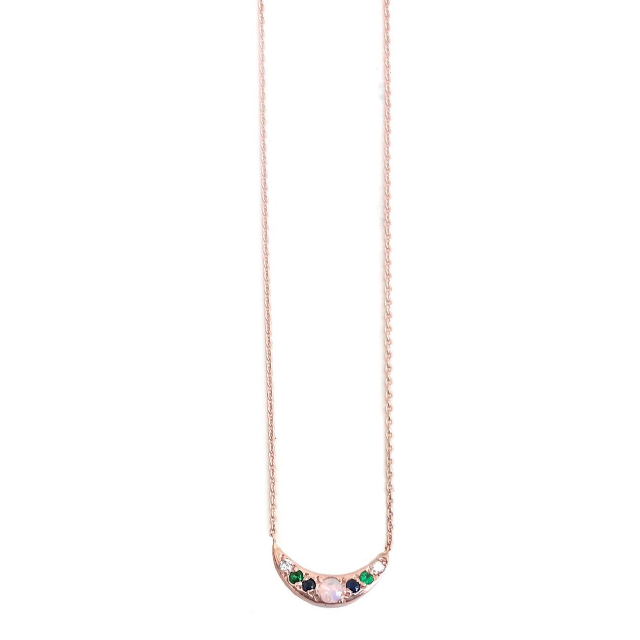 Pink Gold Mini Moon Necklace - Elisa Solomon Jewelry