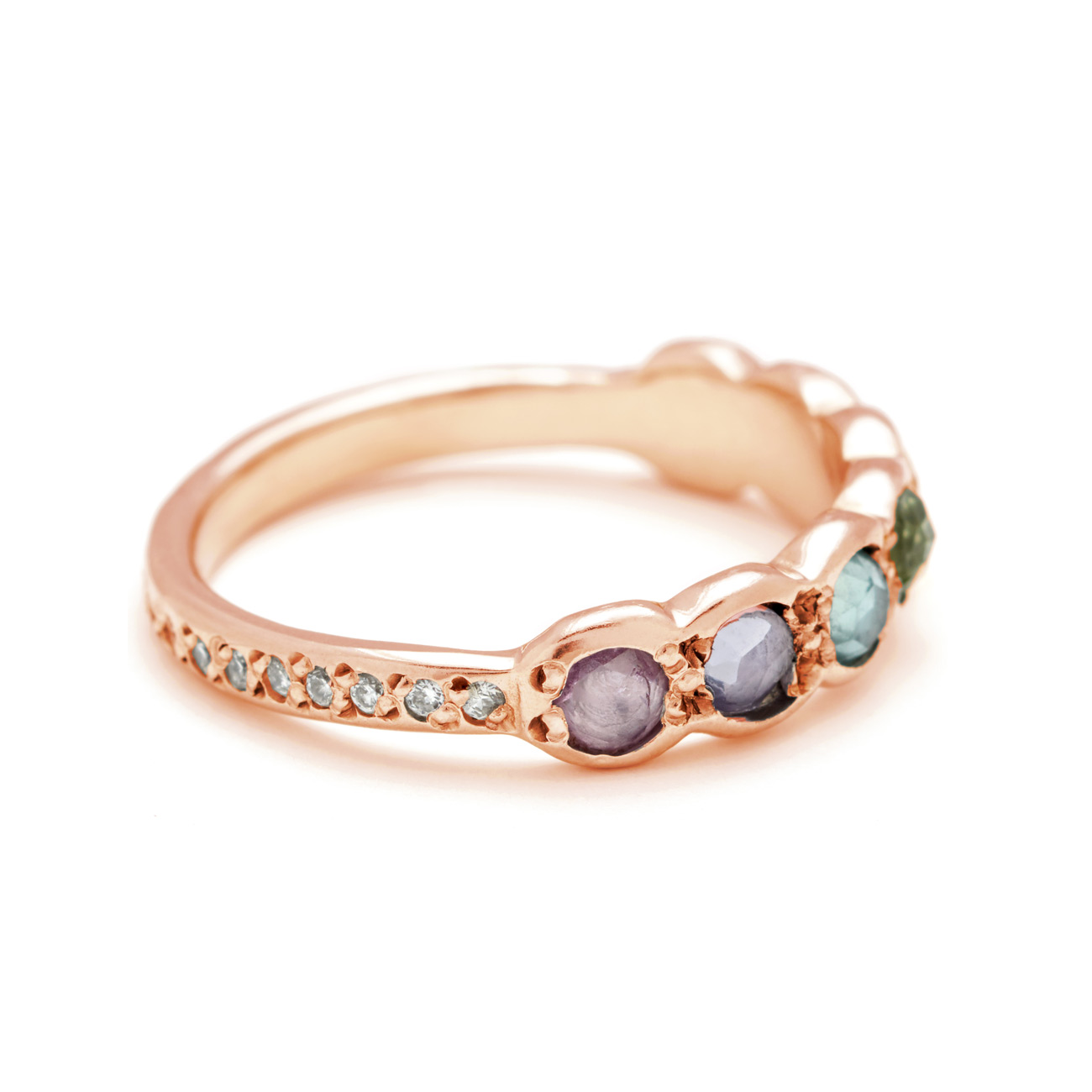 Pink Gold Lucky Seven Rainbow Rosecut Sapphire Band Side View