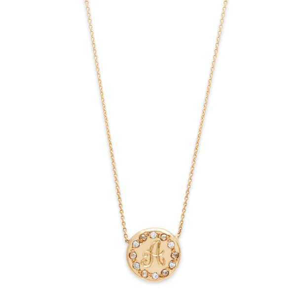Diamond Circle Necklace in Yellow Gold