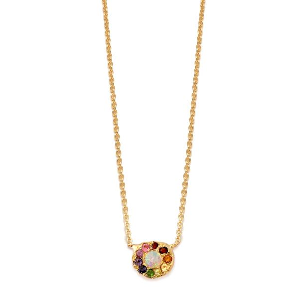 Yellow Gold Opal Rainbow Disk Necklace