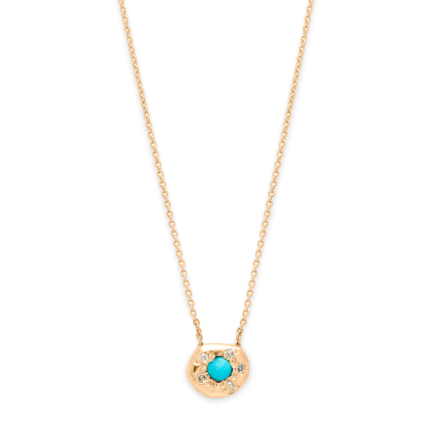 Turquoise Diamond Disk Necklace