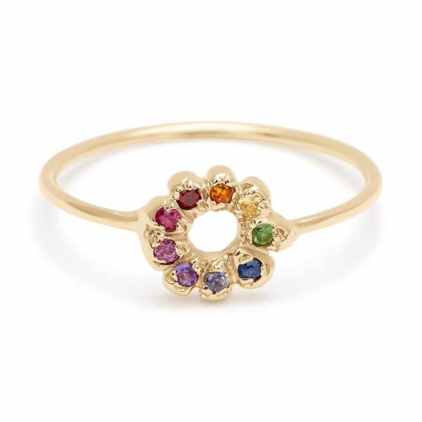 rainbow flower child ring