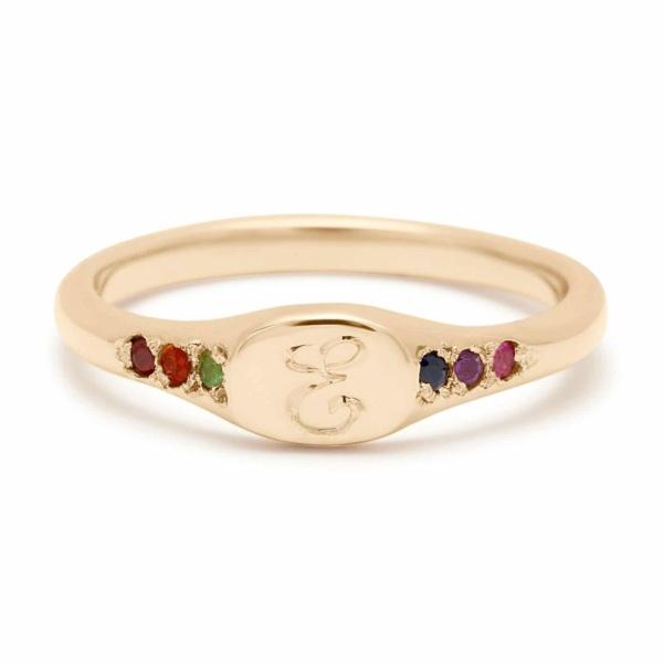 rainbow mini signet ring