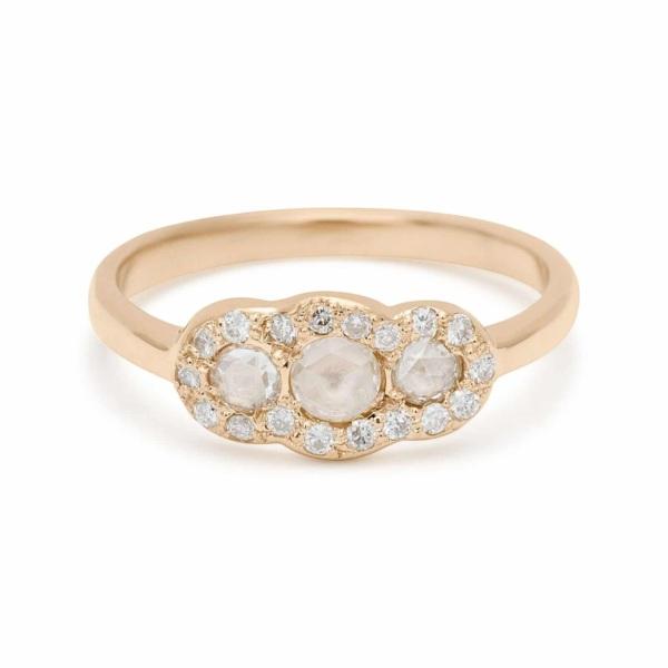 three rosecut diamond ring