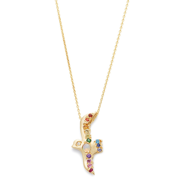 Opal Rainbow Flying Bird Necklace yellow gold