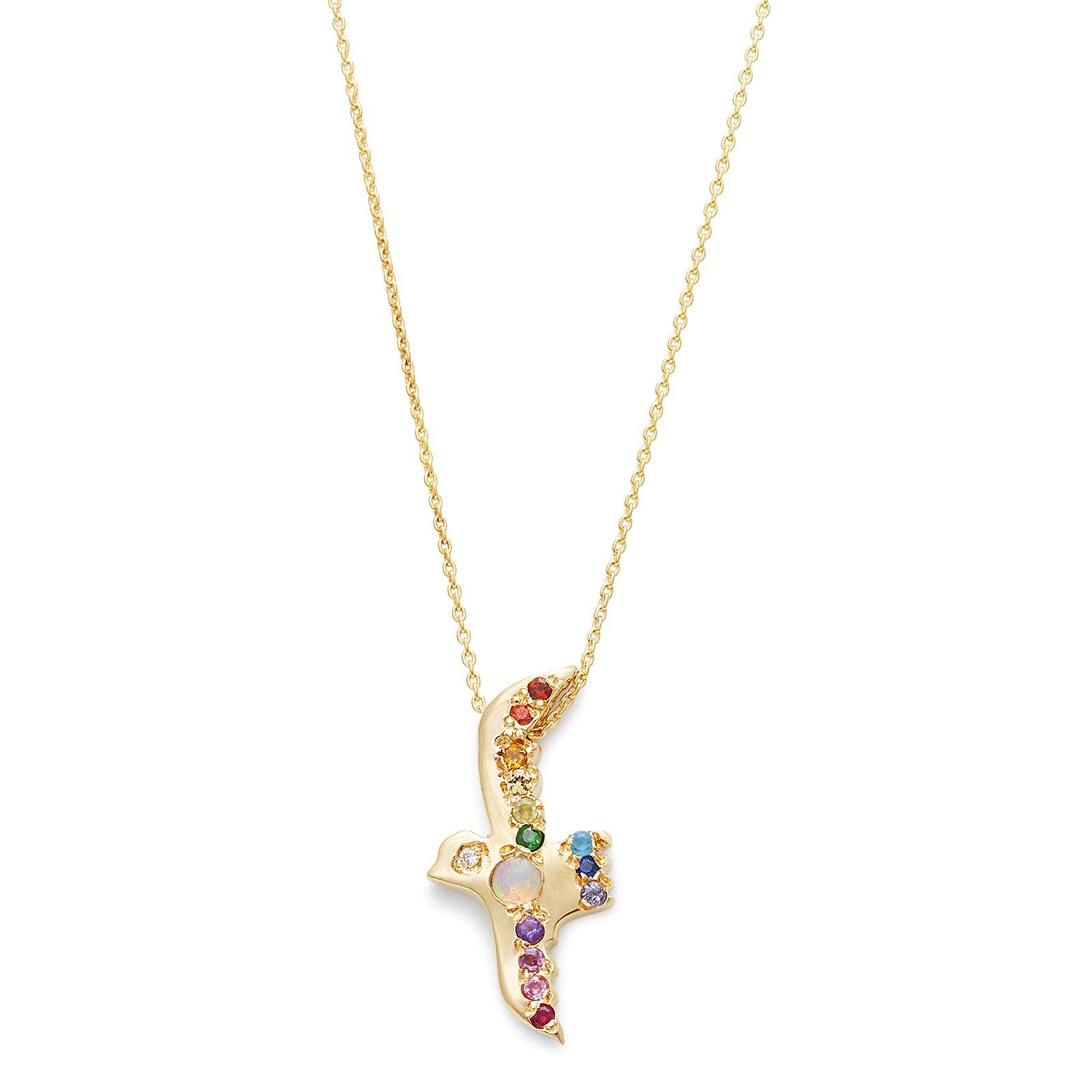 Opal Rainbow Flying Bird Necklace yellow gold