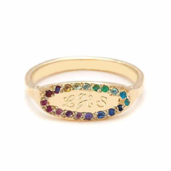 rainbow oval signet engraved ring band