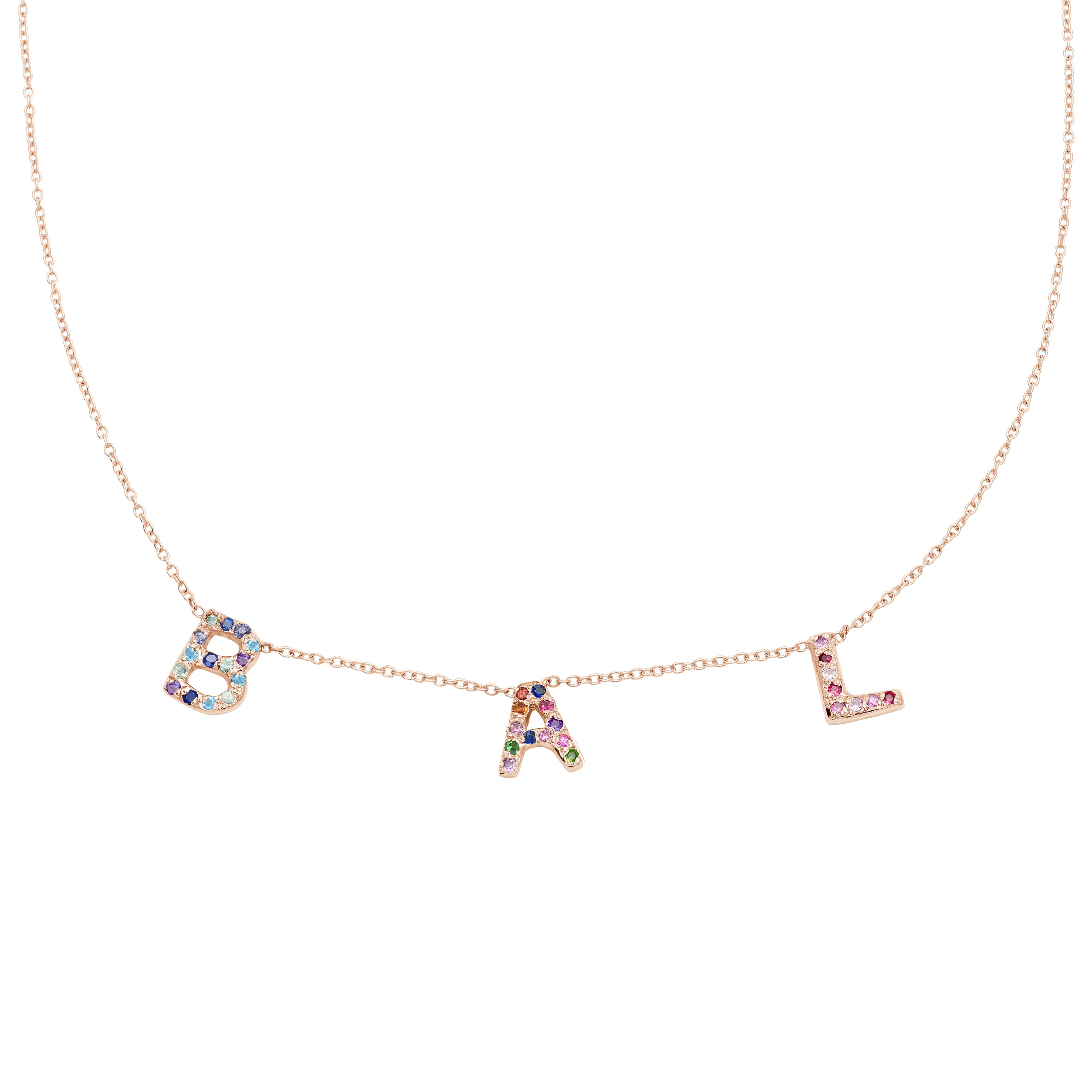 3 Letter Necklace in 14k Pink Gold
