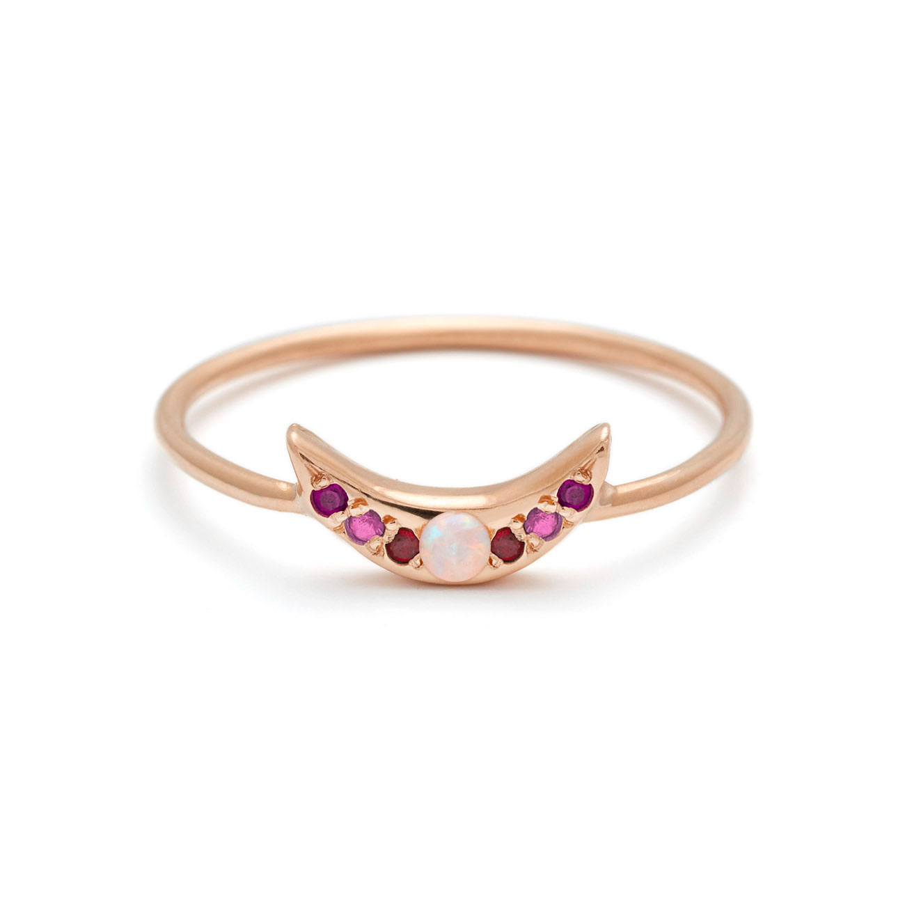 Mini Moon Ring - Personalize the Gemstones - 14k Rose Gold