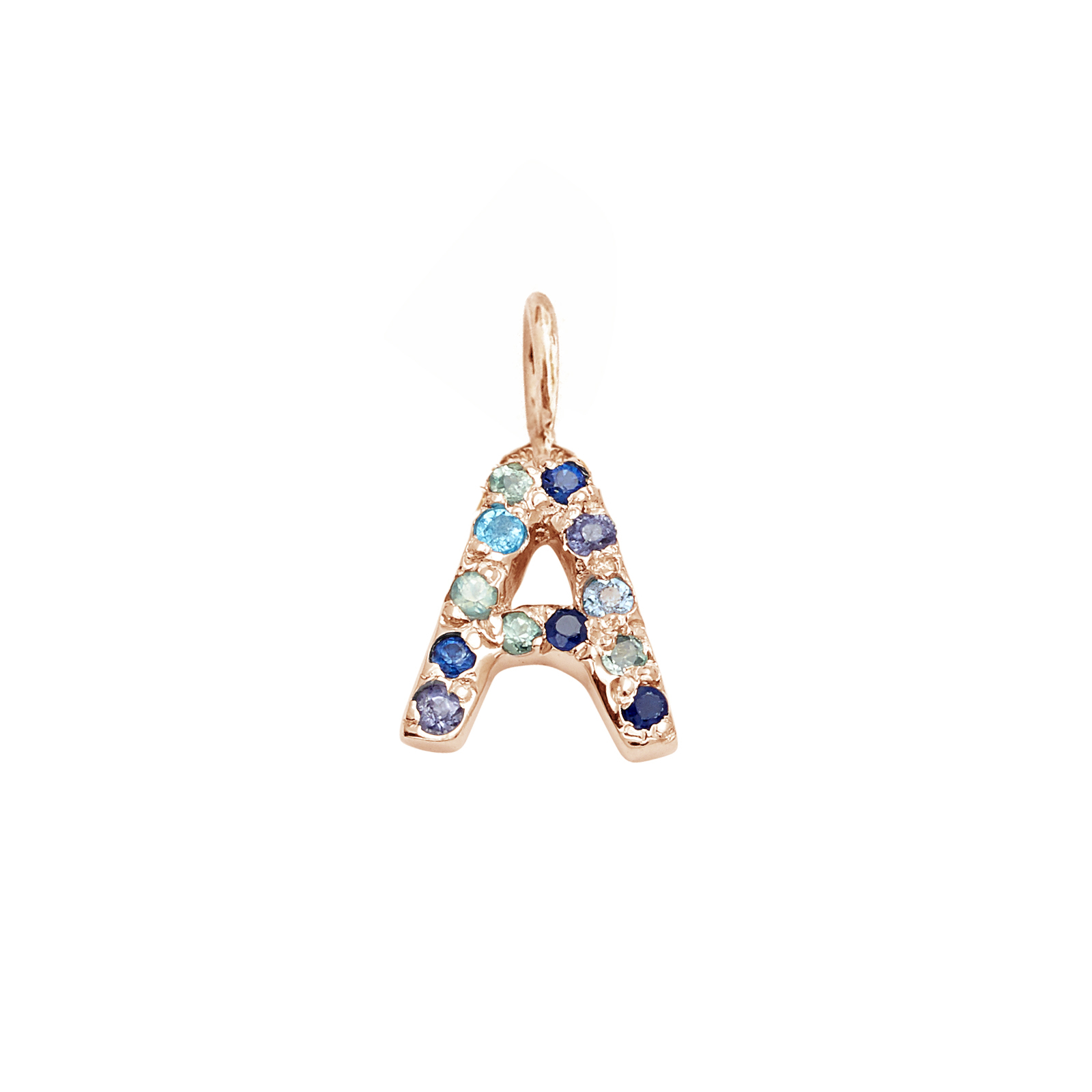 Letter Charm Pendant with Blue Hue Gems in 14k Pink Gold
