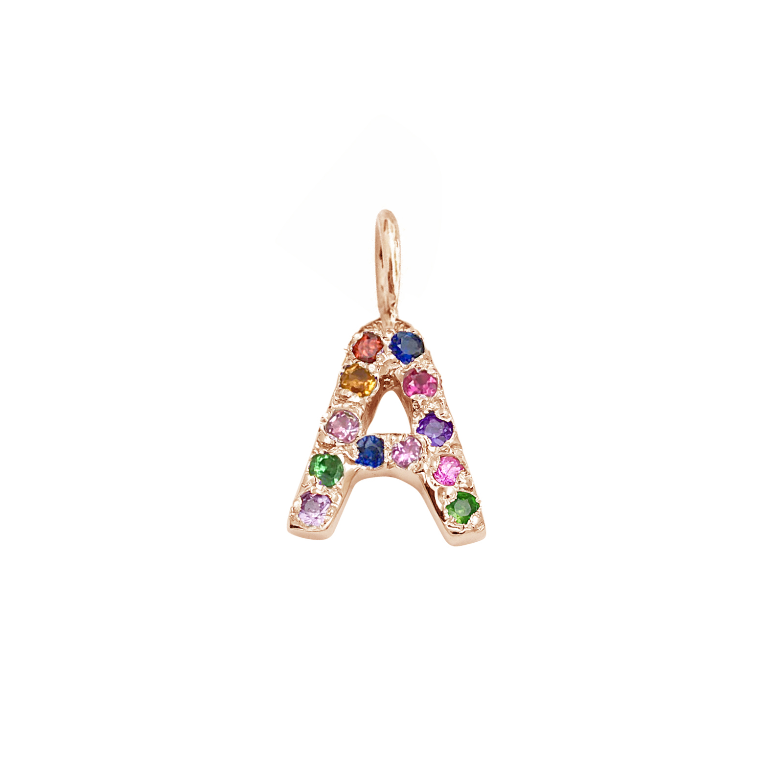Letter Charm Pendant with Multicolor Gems in 14k Pink Gold