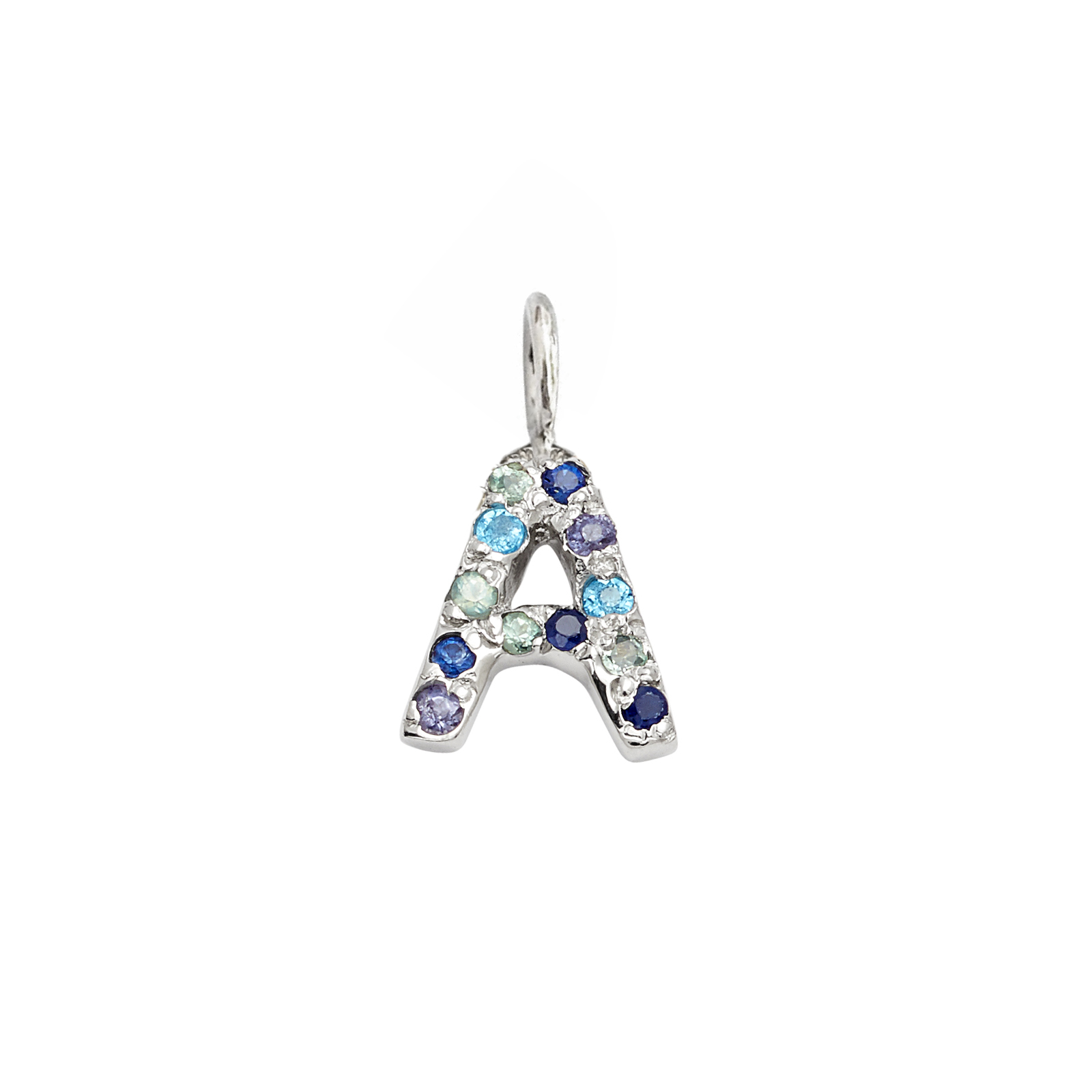Letter Charm Pendant with Blue Hue Gems in 14k White Gold