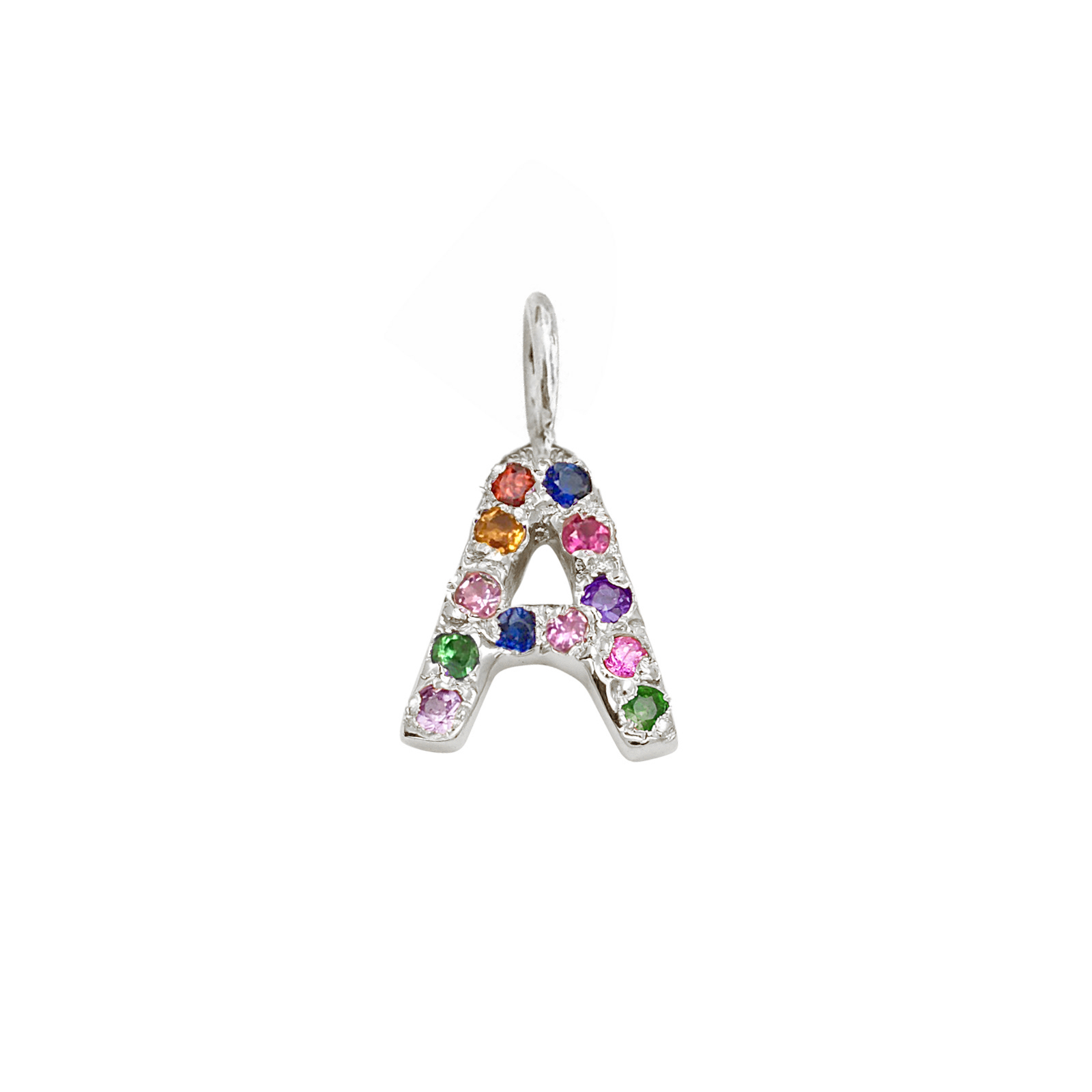 Letter Charm Pendant with Multicolor Gems in 14k White Gold