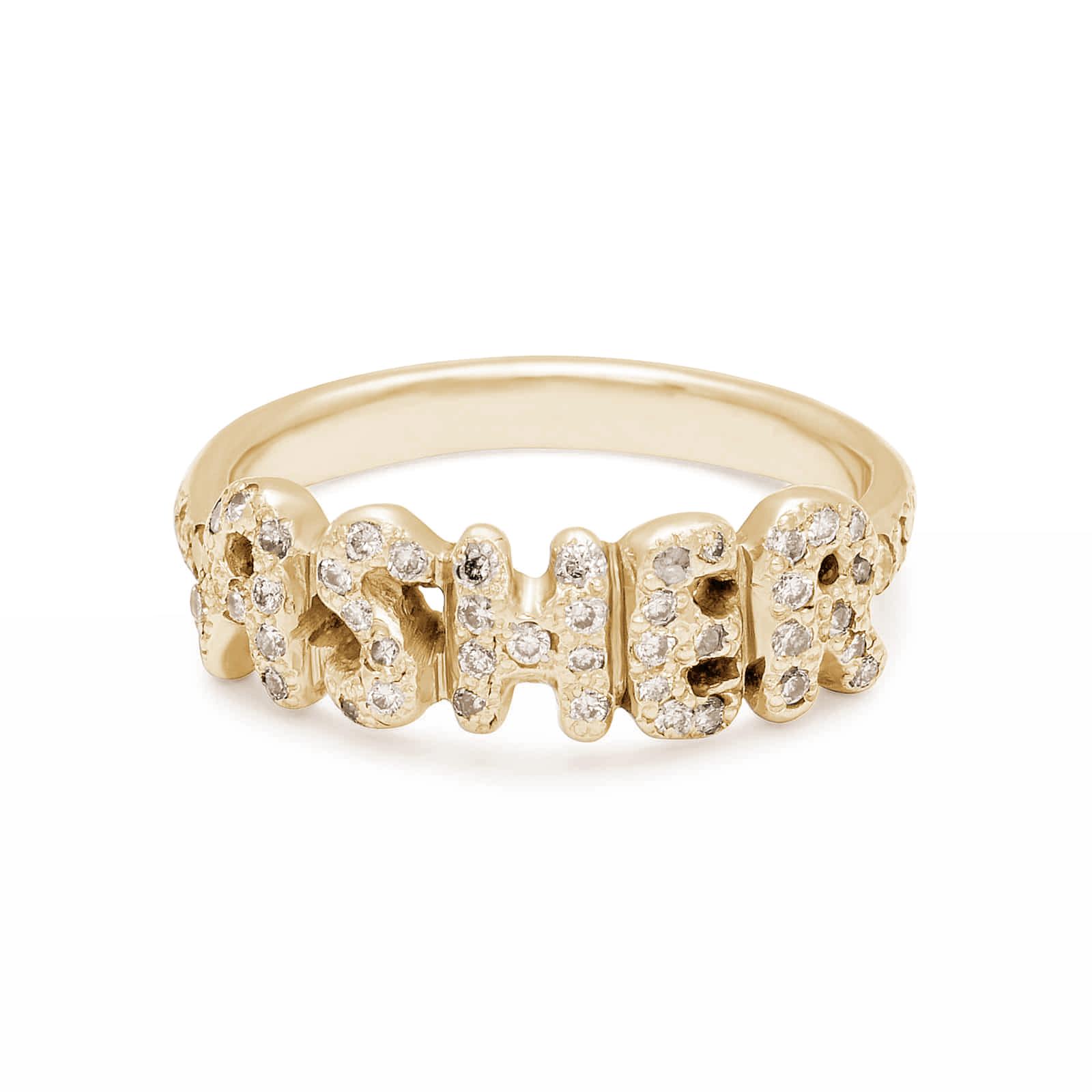 18k Yellow Gold White Diamond Encrusted Name Ring
