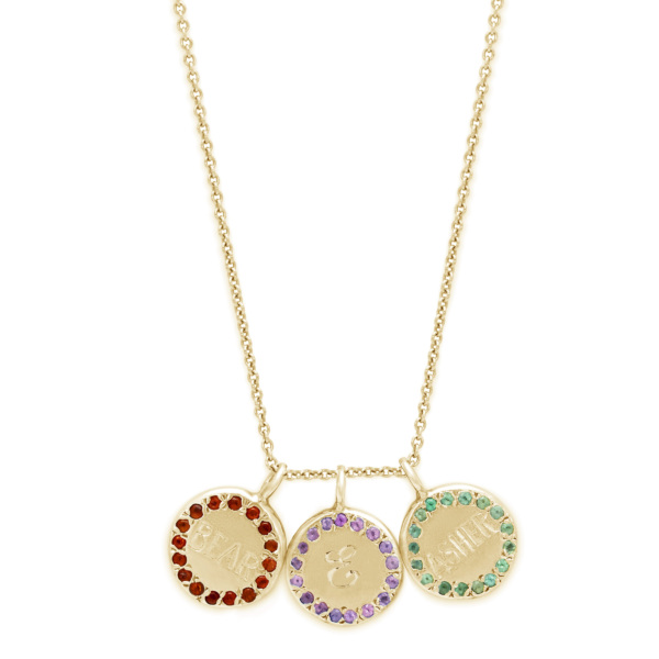 Custom Circle Necklace - Personalized Engraving and choose gemstones - 3 circles in yellow gold