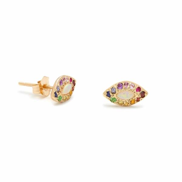Opal Rainbow Eye Stud Earrings - Elisa Solomon Jewelry